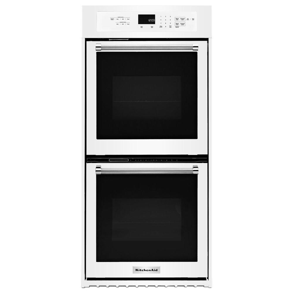 KitchenAid 24 In. Double Electric Wall Oven Self Cleaning With Convection  In White