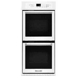 double electric wall oven with convection in white - Electric Wall Oven