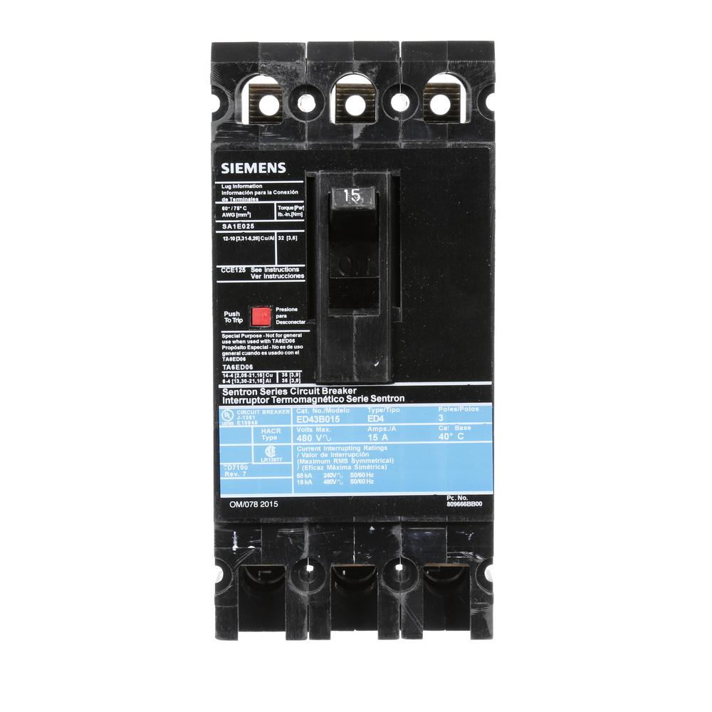 Siemens 15 Amp 3-Pole Type ED 18 kA Circuit Breaker