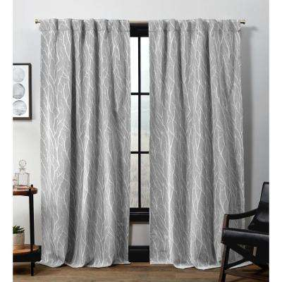 Forest Hill HT Ash Grey Blackout Hidden Tab Top Curtain Panel - 52 in. W x 96 in. L (2-Panel)