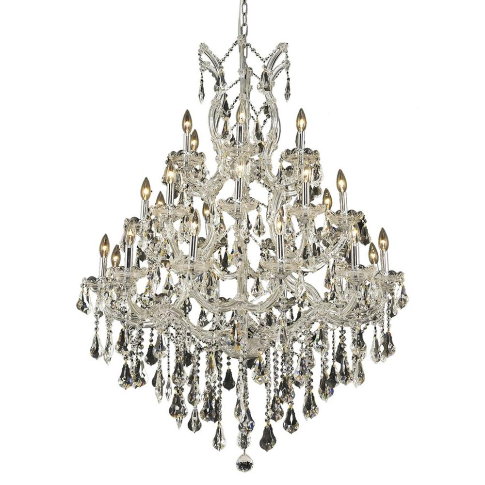 Elegant Lighting 28-Light Chrome Chandelier with Clear Crystal