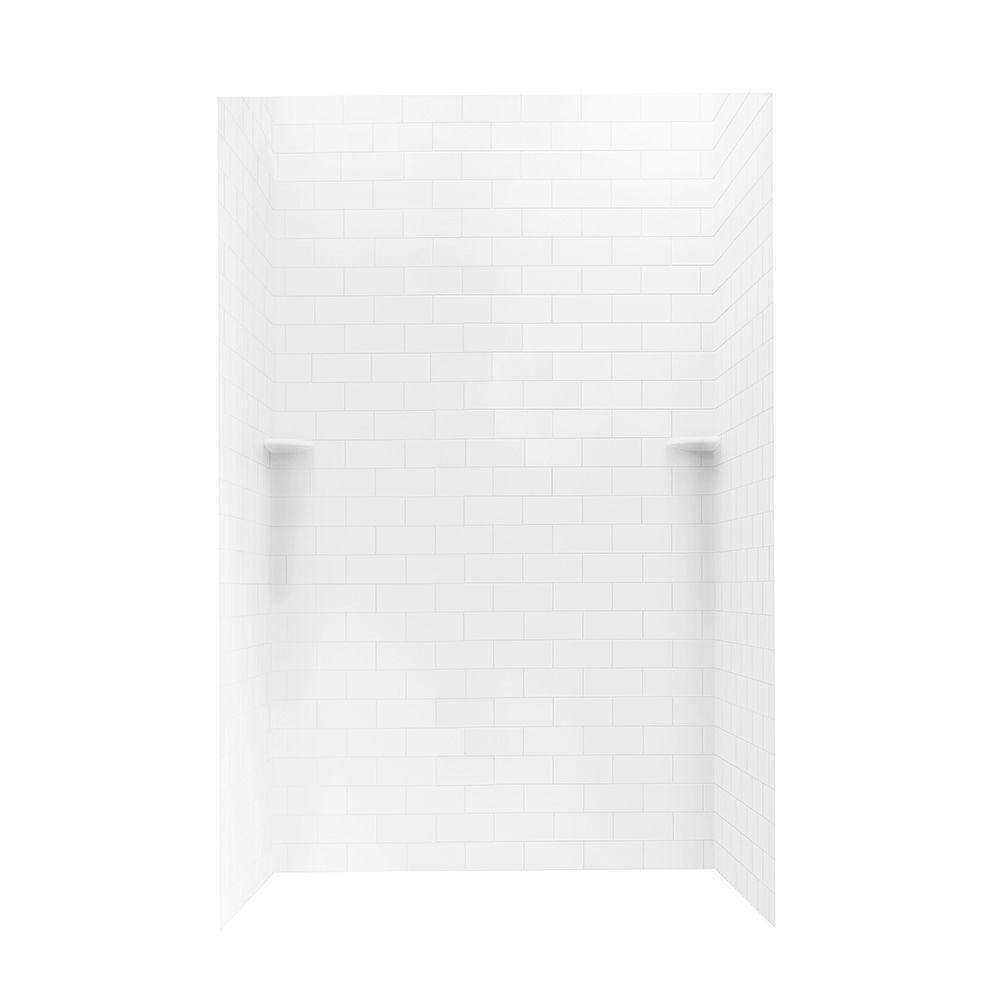 Swan 36 in. x 48 in. x 72 in. 3-piece Subway Tile Easy Up Adhesive Shower Wall in White
