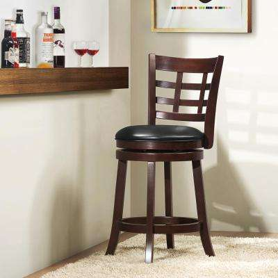 24 in. D Cherry Swivel Cushioned Bar Stool