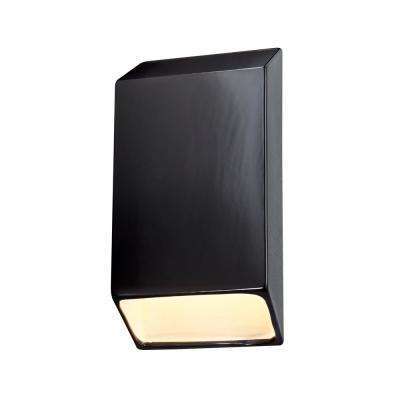 Ambiance Tapered Rectangle Gloss Black with Matte White Internal Outdoor Integrated LED Sconce