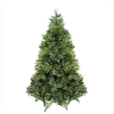 6.5 ft. x 49 in. Pre-Lit Cashmere Mixed Pine Artificial Christmas Tree Warm Clear LED Lights