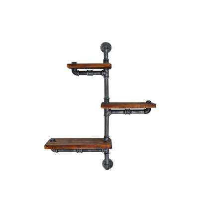 Istanbul Industrial Floating Silver Brushed Gray Pipe Wall Shelf with Walnut Wood
