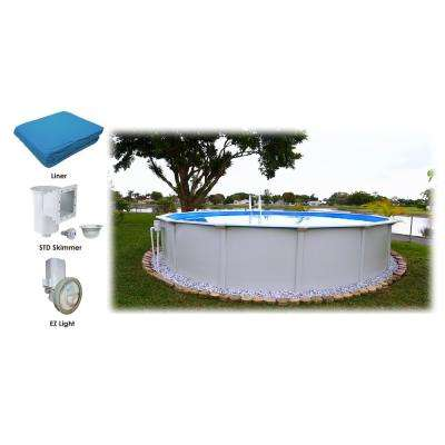 24 ft. Round x 52 in. D Above Ground Pool Package (3 Additional Items Included)