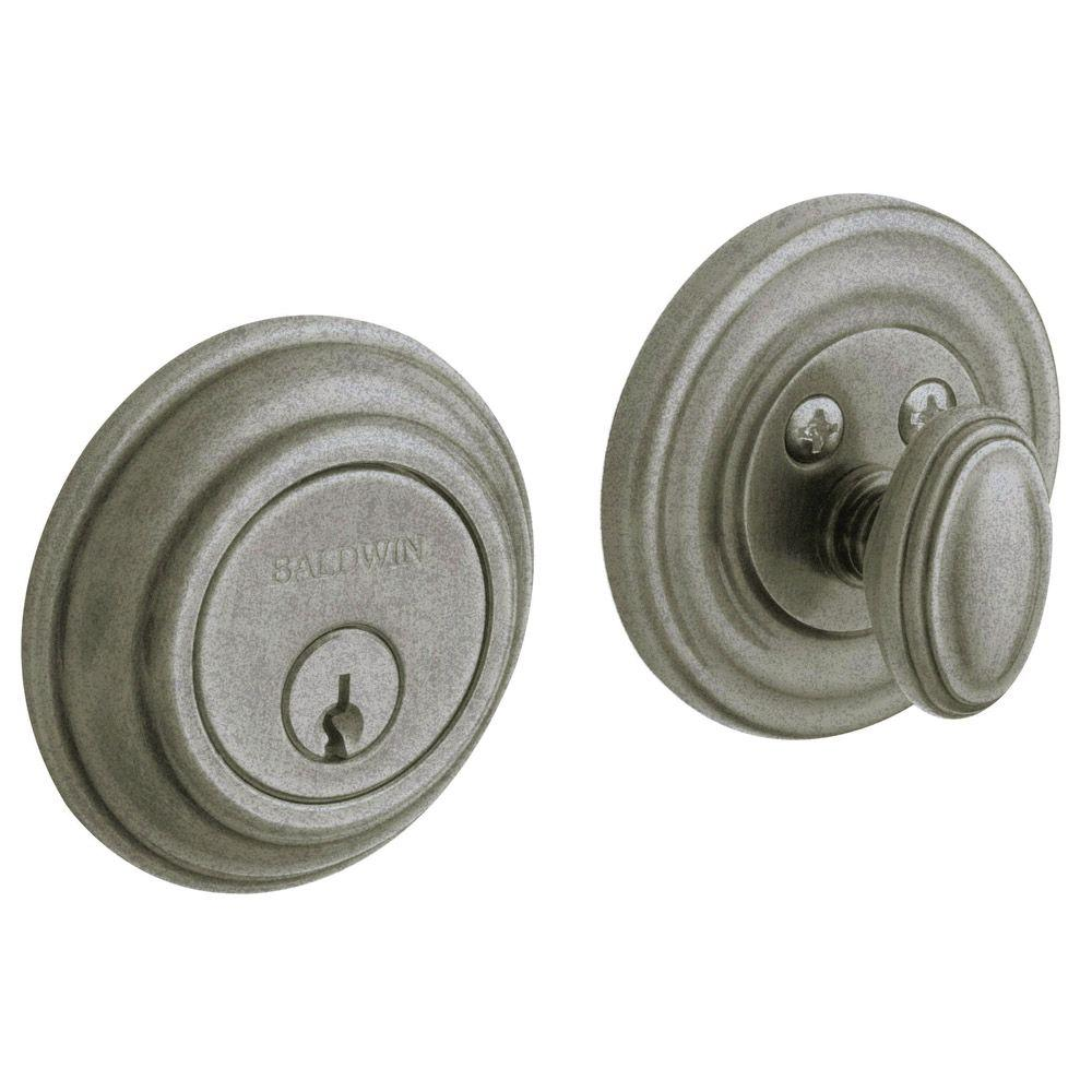 Traditional Single Cylinder Distressed Antique Nickel Deadbolt