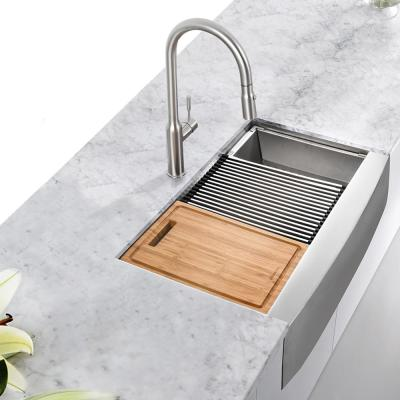 All-in-One Apron-Front Farmhouse Stainless Steel 33 in. 50/50 Double Bowl Workstation Sink with Faucet and Accessories