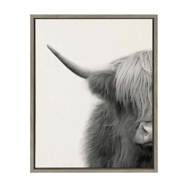 DEEP FRAMED CANVAS WALL ART PICTURE PRINT-BLACK AND WHITE ANIMAL HIGHLAND COW 3
