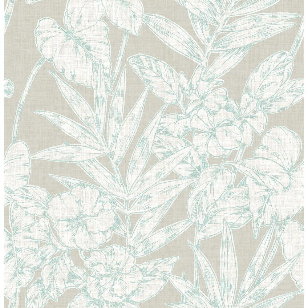 A Street 56 4 Sq Ft Fiji Turquoise Floral Wallpaper 2744 24106