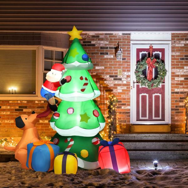 Costway 7 Ft Inflatable Santa Decor Christmas Tree With Led Lights Cm22884us The Home Depot