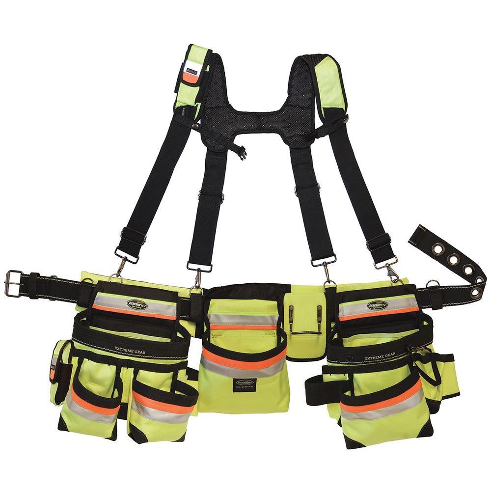 Bucket Boss 37 inch Hi-Visibility 3-Bag Framer's Rig by Bucket Boss