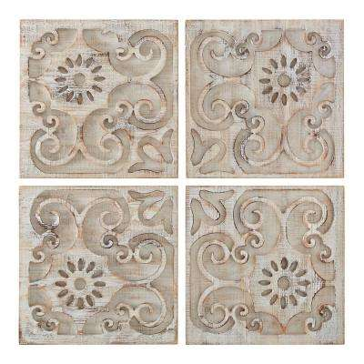 "26 in. x 26 in. ""Moroccan Light Set Of 4 Laser Cut"" Wood Wall Art"