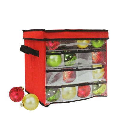 12 in. Red and Clear Christmas Ornament Storage Bag (Holds 64-Ornaments)