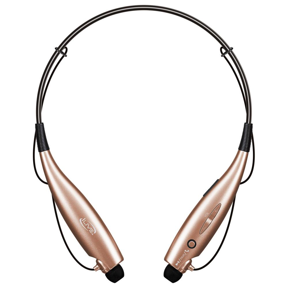 ilive bluetooth wireless neckband earbuds rose gold iaeb25rgd the home depot. Black Bedroom Furniture Sets. Home Design Ideas