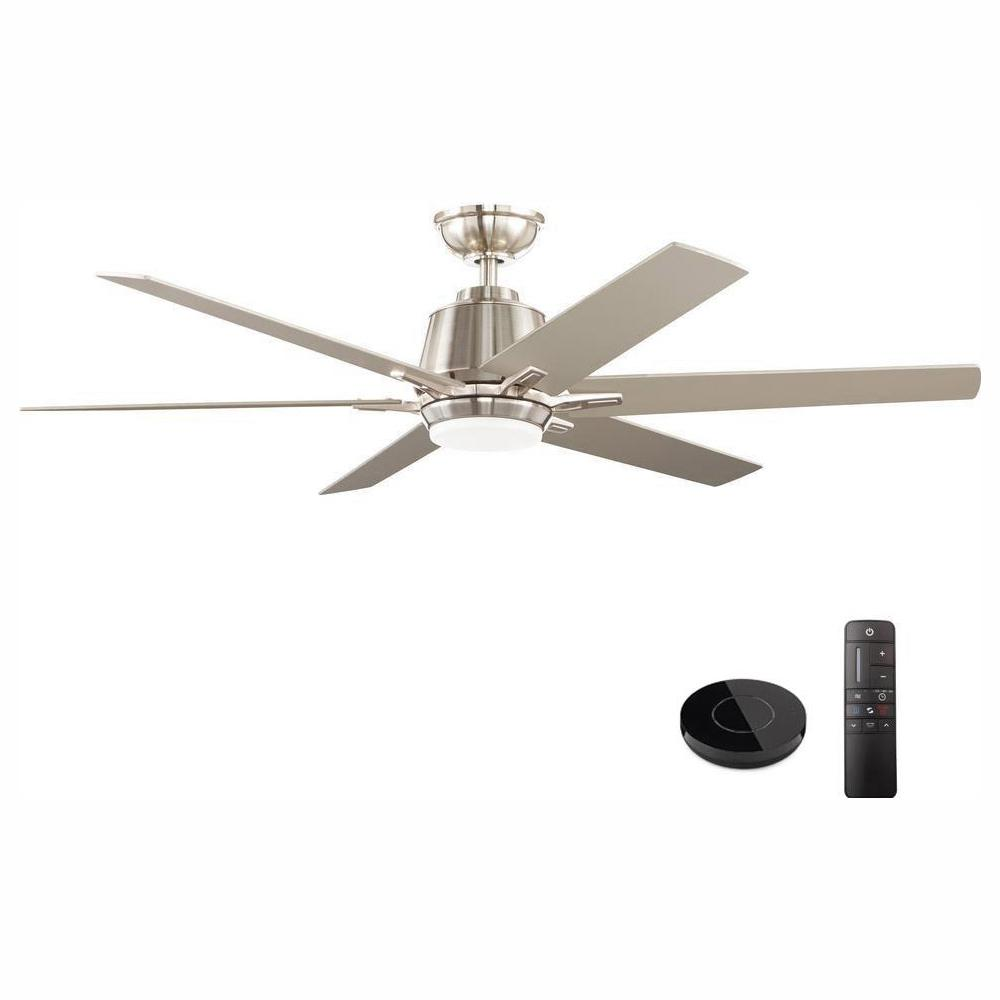 Home Decorators Collection Kensgrove 54 in. Integrated LED Indoor Brushed Nickel Ceiling Fan with Light Kit works with Google Assistant and Alexa