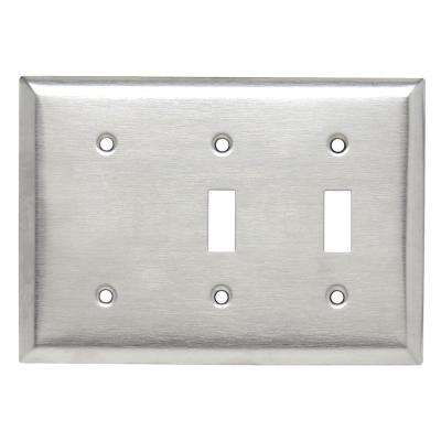 302 Series 3-Gang Blank/Toggle/Toggle Combination Wall Plate, Stainless Steel
