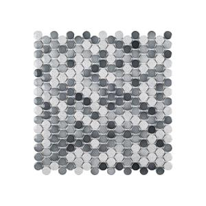 Acid Washed Gray 12.25 in. x 12.25 in. x 6 mm Penny Round Glossy Porcelain Wall and Floor Mosaic Tile