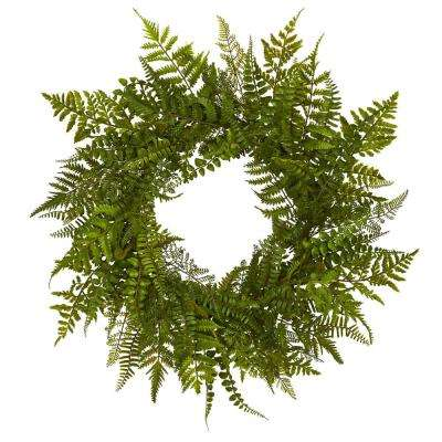 24 in. Mixed Fern Wreath