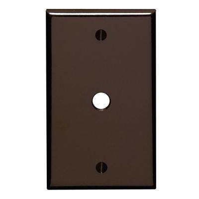 1-Gang Standard Size One 0.406 in. Dia Phone/Cable Opening Plastic Box Mount Wall Plate in Brown