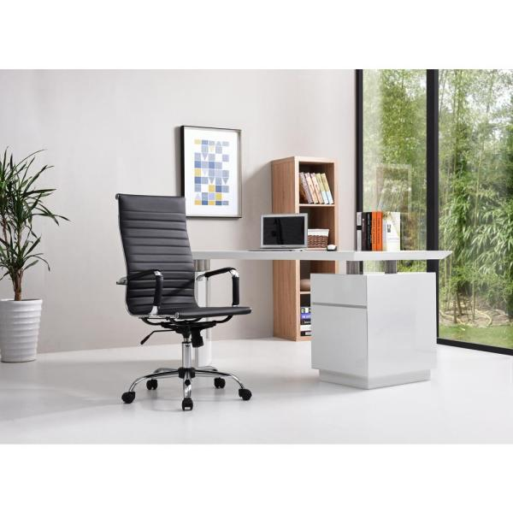 Hodedah Black PU Leather High Back Executive Office Chair