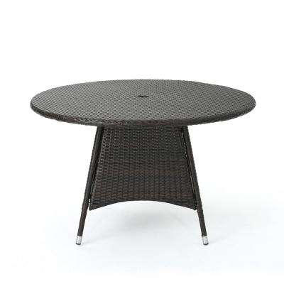 Corsica Brown Round Wicker Outdoor Dining Table