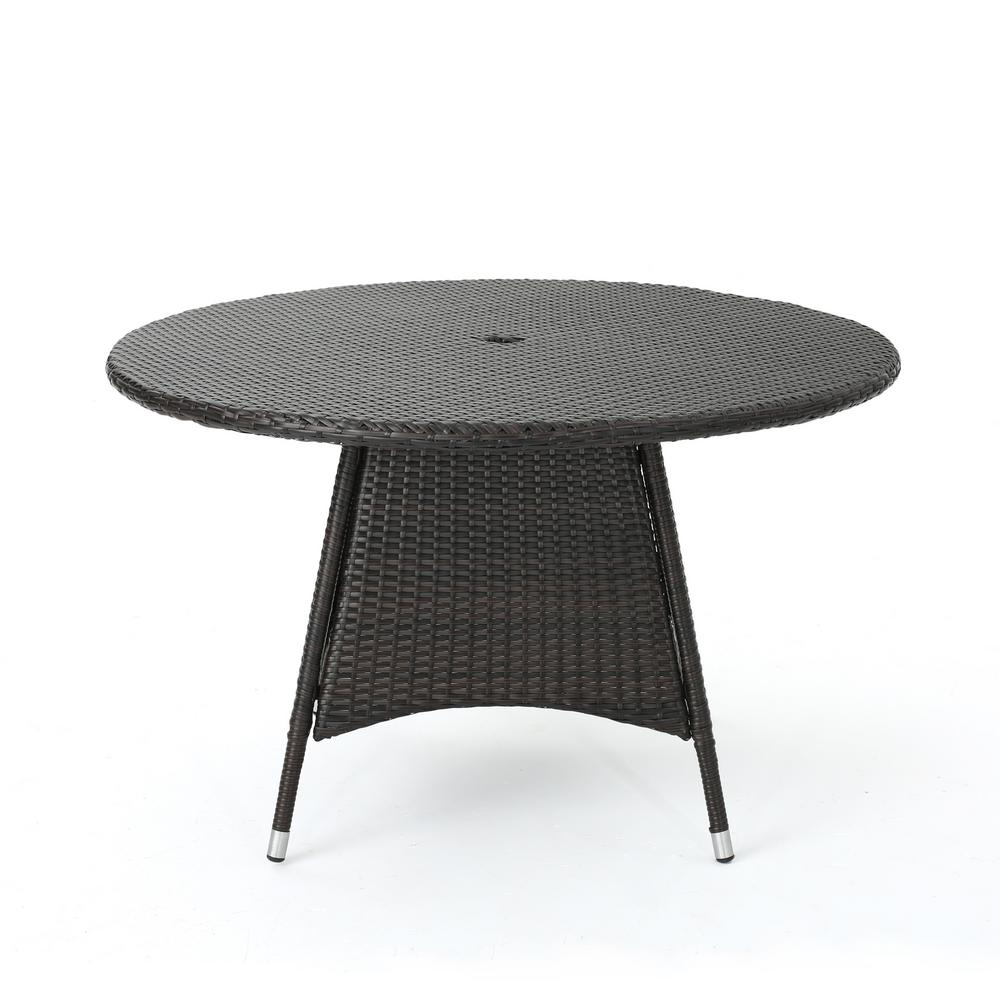 Stupendous Noble House Corsica Brown Round Wicker Outdoor Dining Table Download Free Architecture Designs Embacsunscenecom