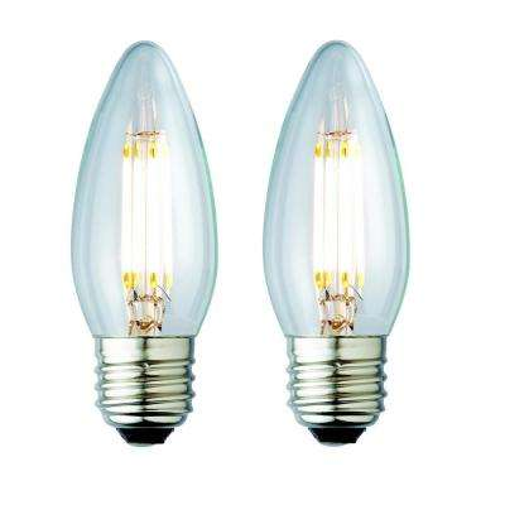 25W Equivalent Soft White B10 Clear Lens Nostalgic Candelabra Blunt Tip Dimmable LED Light Bulb (2-Pack)
