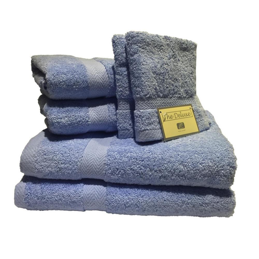 Deluxe 6-Piece Cotton Terry Bath Towel Set in Ocean