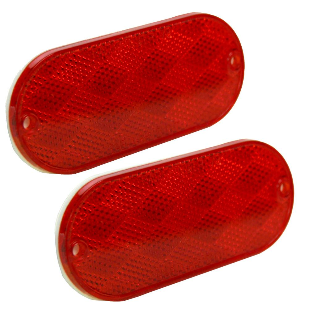 4-1/2 in. Oblong Red Self-Adhesive Reflectors (2-Pack)