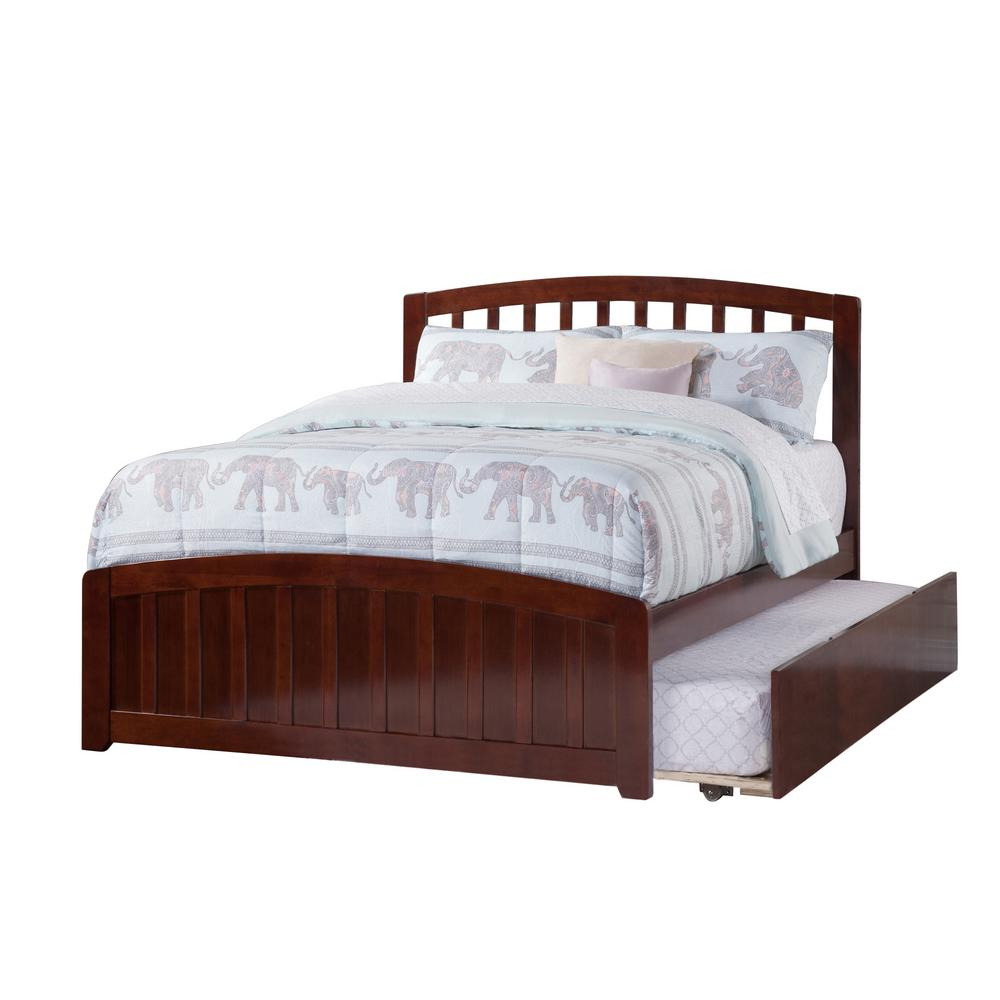 Atlantic Furniture Richmond Walnut Full Platform Bed with Matching Foot  Board with Twin Size Urban Trundle Bed-AR13 - The Home Depot