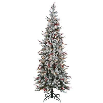 6.5 ft. Memory-Shape Snowy Freehold Spruce Pencil Slim Artificial Christmas Tree with Multi-Color Lights