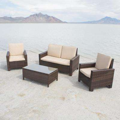 Bordeaux Brown 4-Piece Wicker Patio Conversation Set with White Cushions
