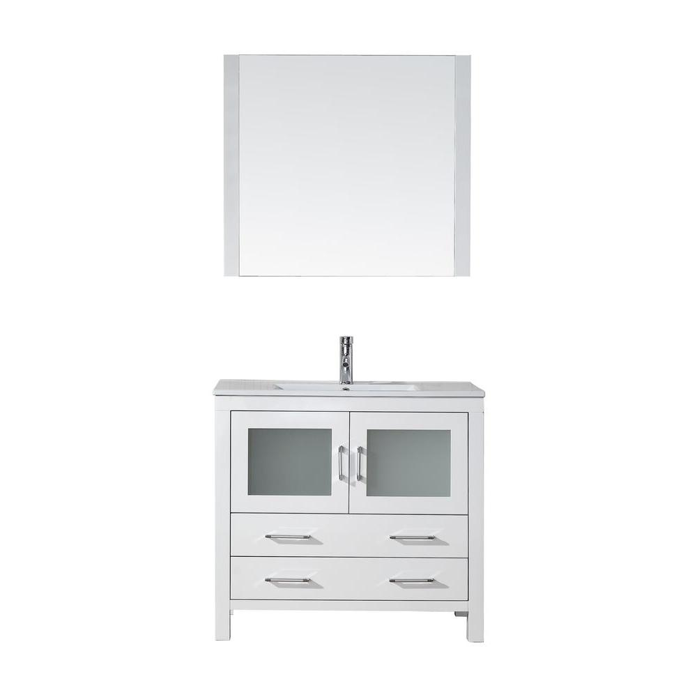 Virtu USA Dior 36 in. W Bath Vanity in White with Ceramic Vanity Top in Slim White Ceramic with Square Basin and Mirror and Faucet