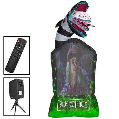 9 Ft Inflatable Living Projection Beetlejuice Tombstone Wb Airblown