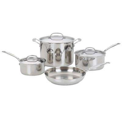 Chef's Classic 7-Piece Stainless Steel Cookware Set with Lids