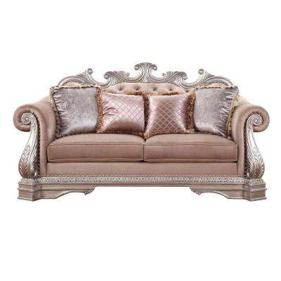 Northville Velvet and Antique Champagne Loveseat with 4-Pillows