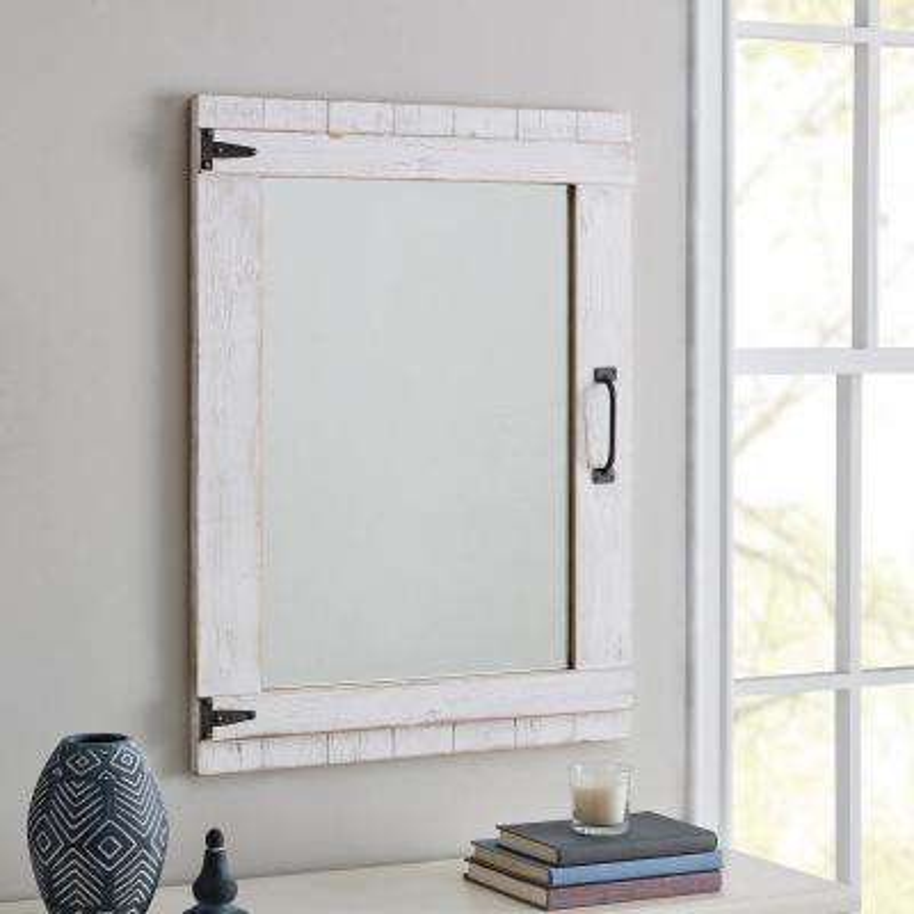 Cottage Rustic White Door Mirror