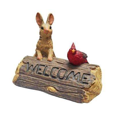 9 in. Bunny and Cardinal Welcome Sign