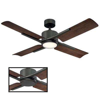 Cervantes 56 in. LED Indoor/Outdoor Oil Rubbed Bronze 4-Blade Smart Ceiling Fan with 2700K Light Kit and Wall Control