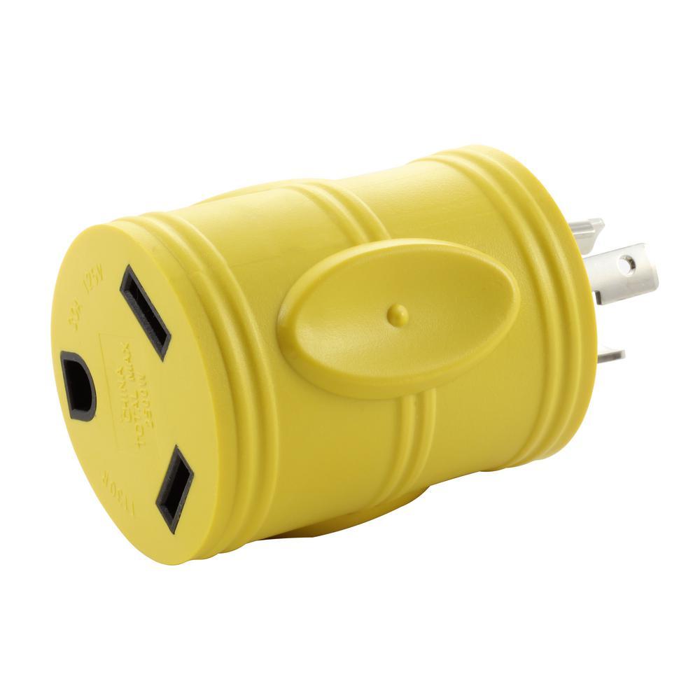 RV Generator Adapter L5-20P 20 Amp 3-Prong Locking Plug to RV 30 Amp TT-30R Connector