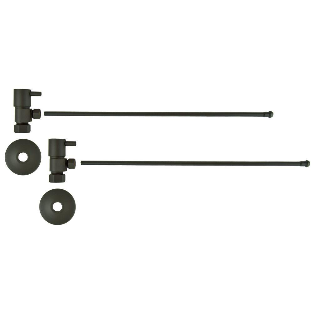 3/8 in. O.D x 20 in. Brass Rigid Lavatory Supply Lines with Lever Handle Shutoff Valves in Oil Rubbed Bronze Barclay provides all your essential bathroom needs. Enjoy the convenience of accessible water shut-off with these decorative lavatory supplies. Choose from 4 designer finishes. Color: Oil Rubbed Bronze.