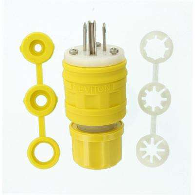 15 Amp 125-Volt Wetguard Straight Blade Grounding Plug, Yellow/White