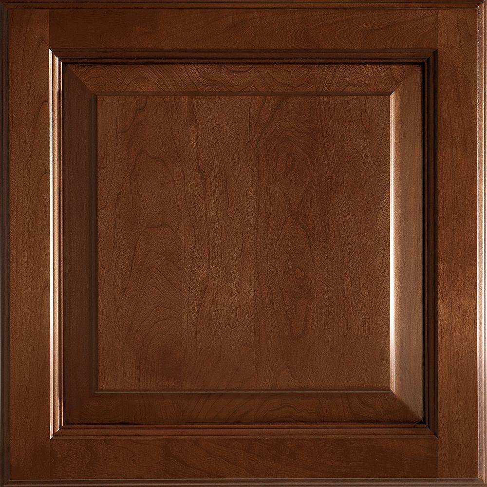 American Woodmark 14-9/16x14-1/2 in. Cabinet Door Sample in Alexandria Cherry Chocolate Glaze