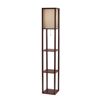 Wright 63 in. Walnut Wood Veneer Floor Lamp