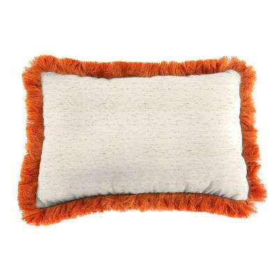 Sunbrella 19 in. x 12 in. Frequency Parchment Lumbar Outdoor Throw Pillow with Tuscan Fringe