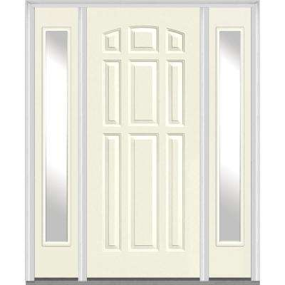 64 in. x 80 in. Left Hand Inswing 9-Panel Painted Fiberglass Smooth Prehung Front Door with Sidelites