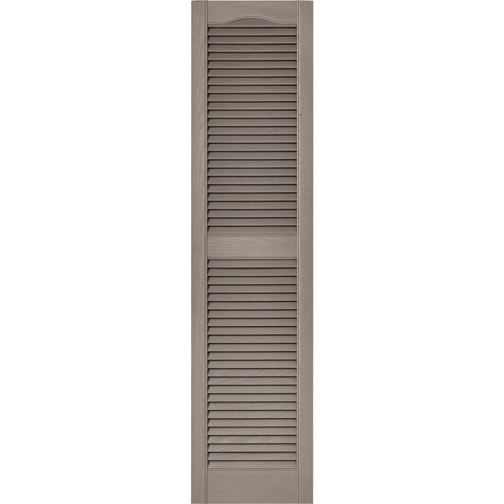 Builders Edge 15 in. x 60 in. Louvered Vinyl Exterior Shutters Pair in #008 Clay