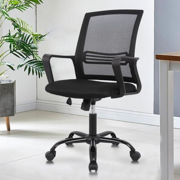 Smugdesk Office Chair Mid Back Breathable Mesh Desk Chair With Lumbar Support Hd1839blk The Home Depot